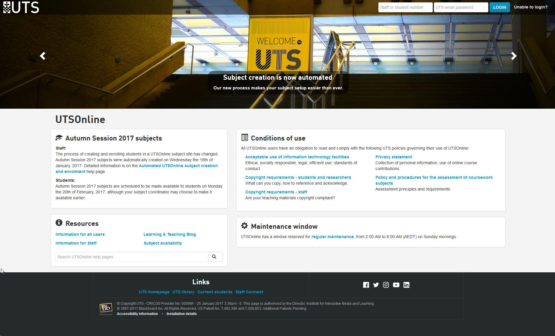 login_homepage_1 - UTSOnline Help