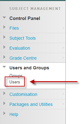 Opening the Users page