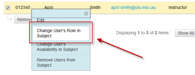 Accessing the Change User's Role in Subject feature