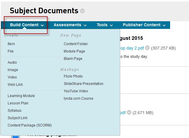 Build Content menu