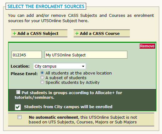 Selecting the enrolment sources