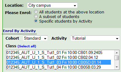 Specific Students By Activity options