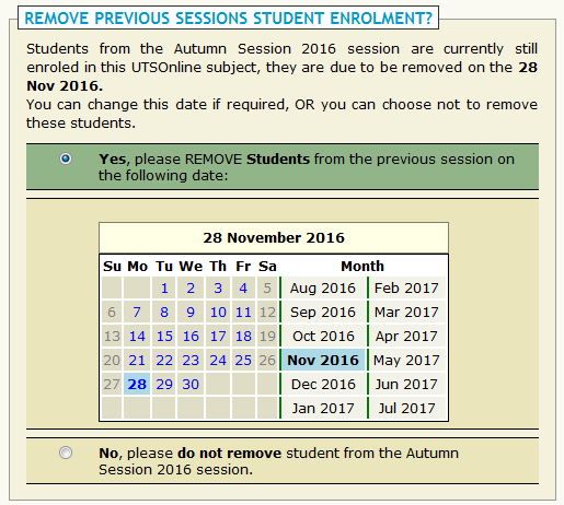 Removing students from previous sessions
