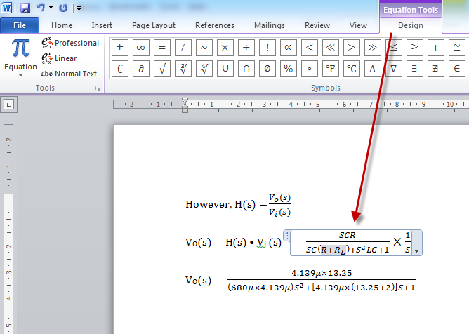 Using the Equation Tools