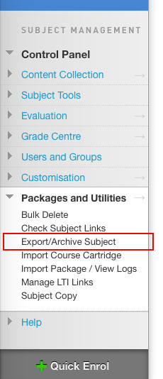 Where to find the Archive Menu