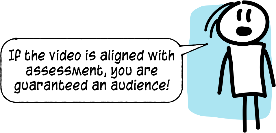 Cartoon: students will watch a video if it is linked to assessment