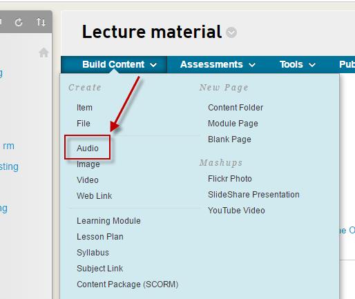 The Blackboard Audio tool