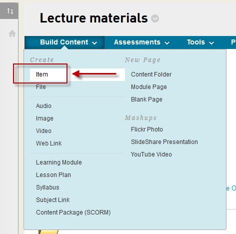 The Blackboard item tool