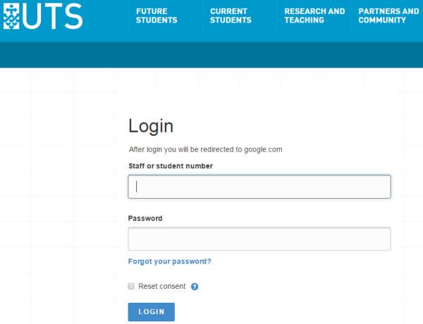 UTS login page