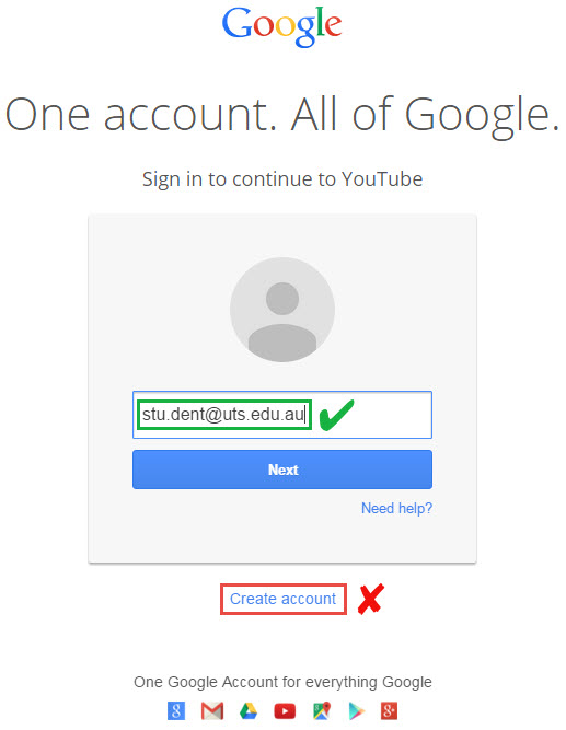 Google login screen
