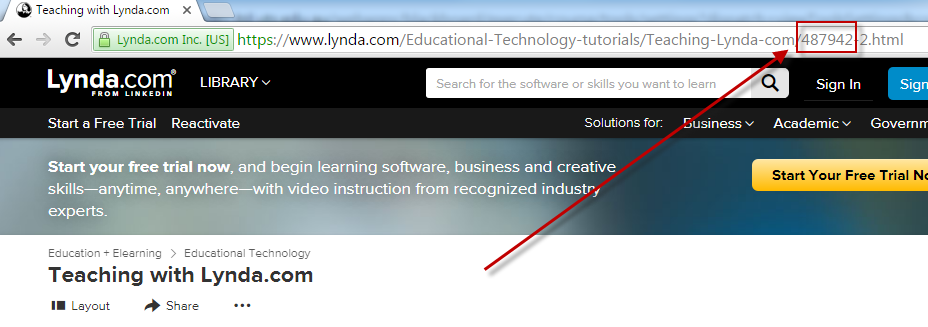 Getting the Lynda.com course ID