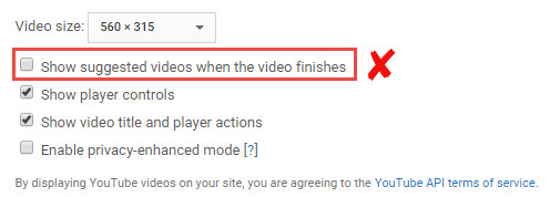 Show suggested videos when the video finishes