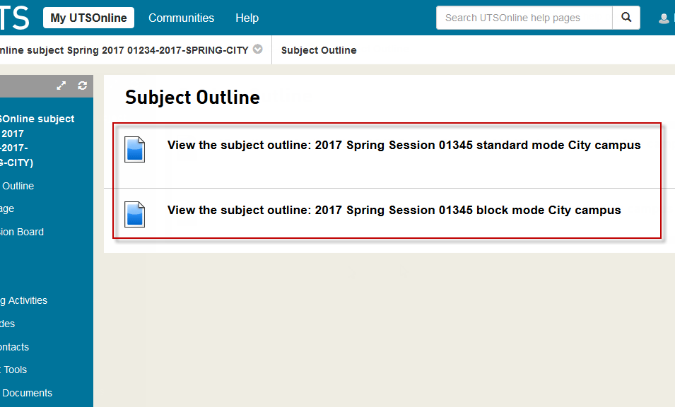 Multiple subject outlines for attendance modes