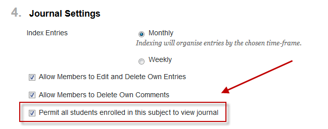 Setting to permit all students to view group journal