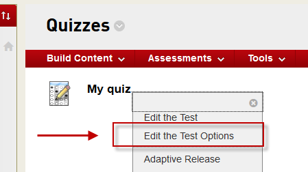 Accessing the quiz settings