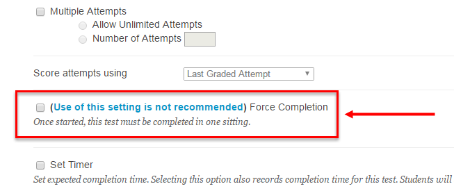 The Force Completion setting