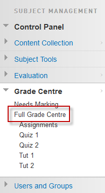 Full Grade Centre option in the control panel