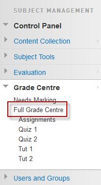 Full Grade Centre option in the control panel