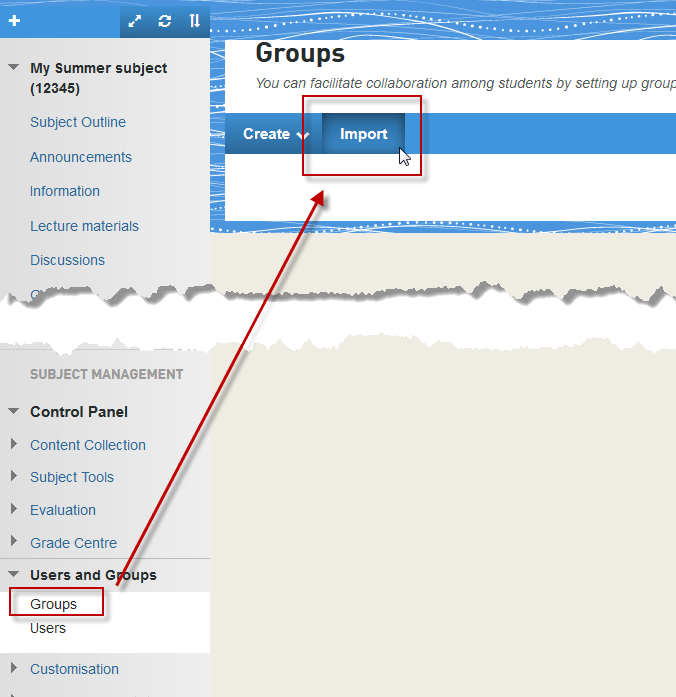 The Import Groups tool