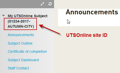 The UTSOnline site ID in the site menu