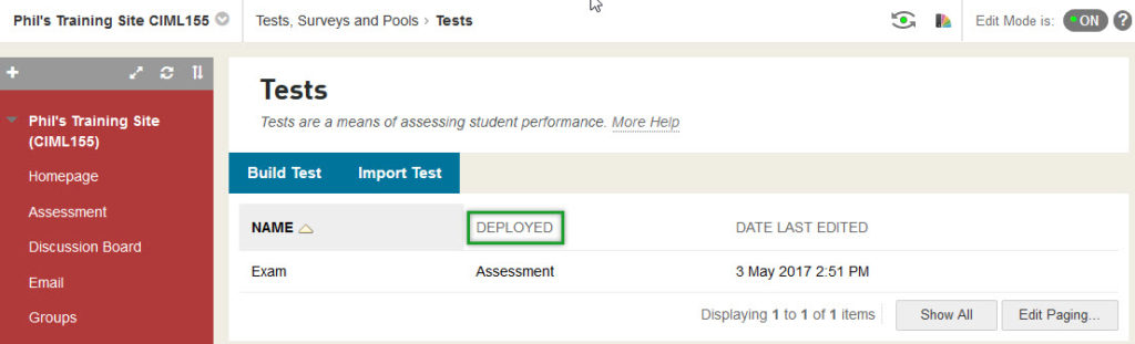 The location of the test is displayed in the DEPLOYED column