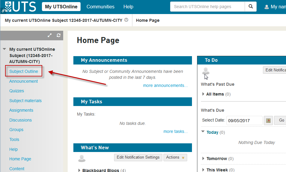 <span style=&quot;font-size:1.5em&quot;><strong>Step 2 of 3:</strong> Click on the <strong>Subject Outline</strong> link in the menu. The location of the link on the menu may vary between UTSOnline Subject sites.</span>