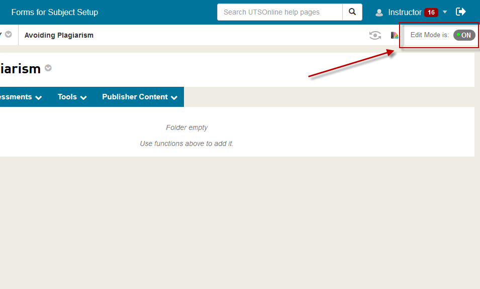 <span style=&quot;font-size:1.5em&quot;><strong>Step 2 of 6:</strong> In your UTSOnline subject site, ensure that the <strong>Edit Mode</strong> switch is set to <em>ON</em> so that you can make changes in your UTSOnline subject site.</span>