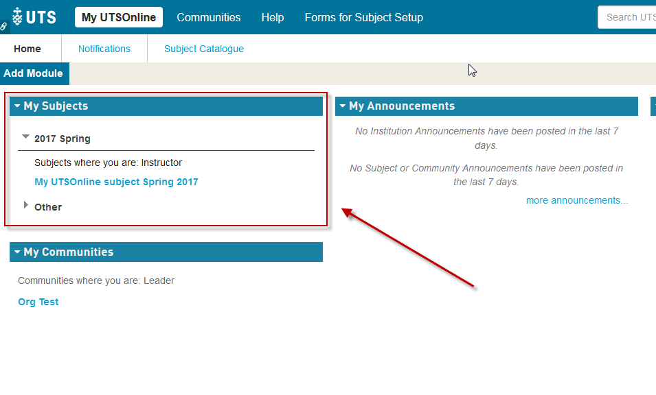 Step 1 of 6: Log into UTSOnline and access your UTSOnline subject site from the My Subjects module.