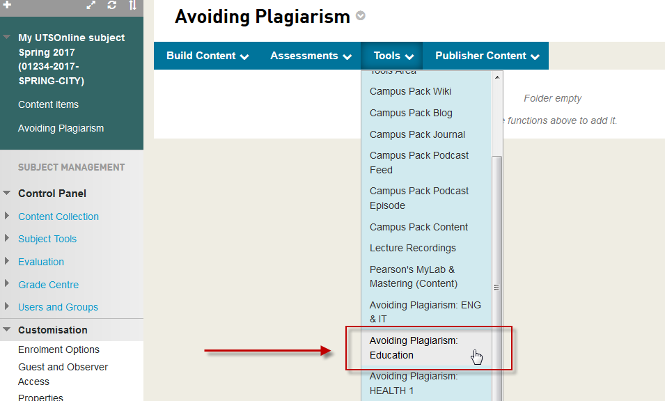 <span style=&quot;font-size:1.5em&quot;><strong>Step 3 of 6:</strong> Select a <strong>Content Area</strong> in your UTSOnline subject site that will contain the Avoiding Plagiarism link. Open the <strong>Tools</strong> menu and select the appropriate Avoiding Plagiarism <strong>Discipline</strong> for your subject. This will open the <strong>Create</strong> page. If your Discipline is not listed in the Tools menu, select <em>Avoiding Plagiarism: GENERIC</em>.</span>