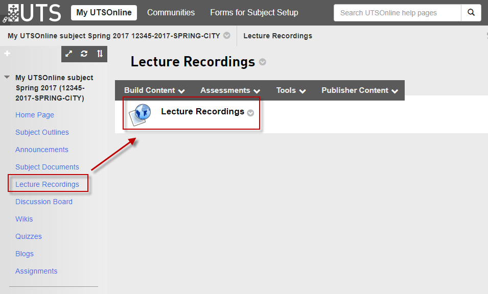 Step 1 of 9: In your UTSOnline subject site, open the Lecture Recordings menu item then click on the Lecture Recordings link. This will take you to the Copyright Warning page.