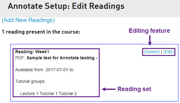 Adding and managing A.nnotate readings