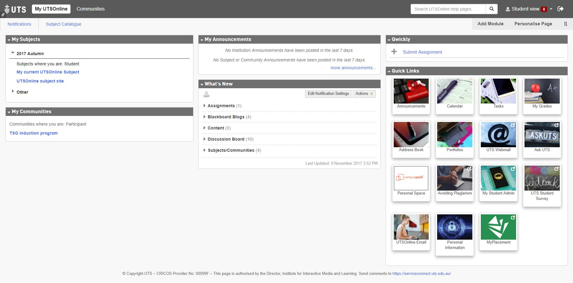 The My UTSOnline module page