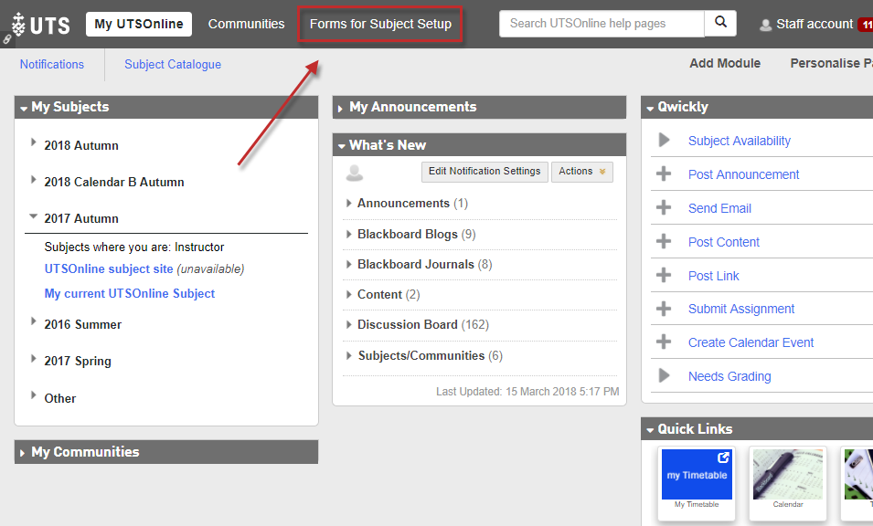 Step 1 of 10: Log into UTSOnline and click on the Forms For Subject Setup tab.