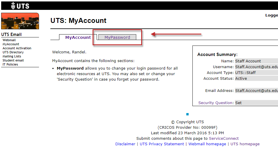Step 6 of 10: After logging into the MyAccount system, click on the MyPassword tab.