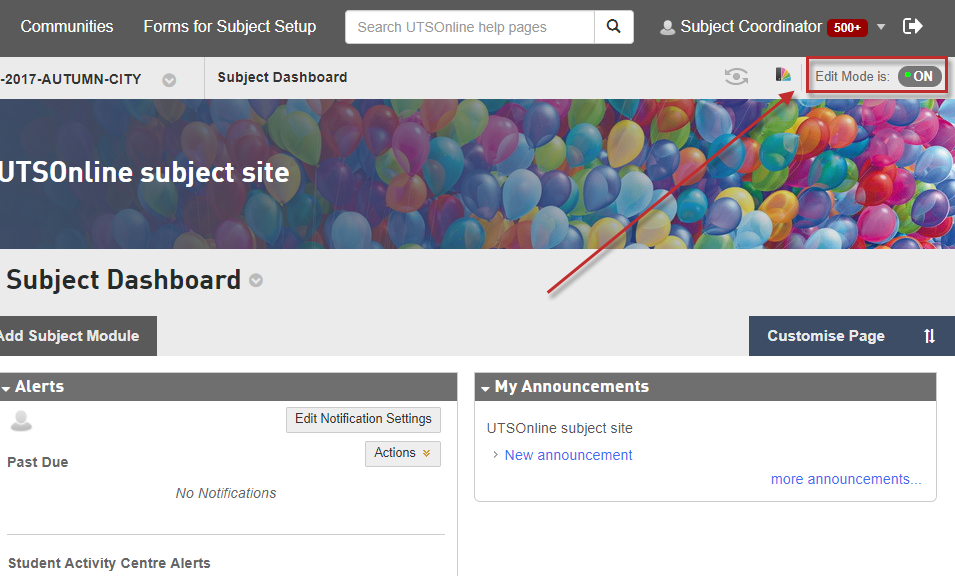 Step 1 of 5: Access your UTSOnline subject site and confirm that Edit Mode is ON.