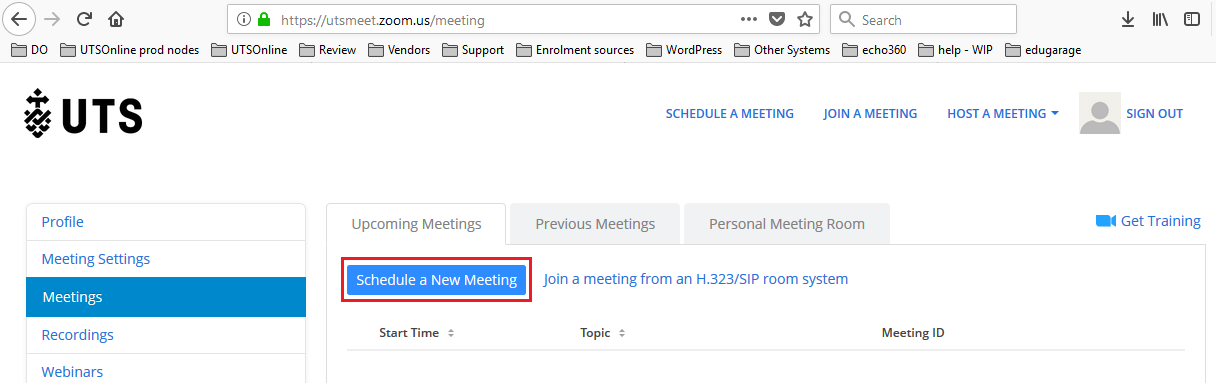 Step 2 of 3:Under 'Upcoming Meetings', click on 'Schedule a New Meeting' to setup the meeting with various options including the 'Alternative Host'.