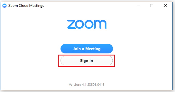 Step 3 of 8:  Click on 'Sign In' to configure Zoom on your computer.
