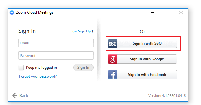 Step 4 of 8:  Click on 'Sign In with SSO'