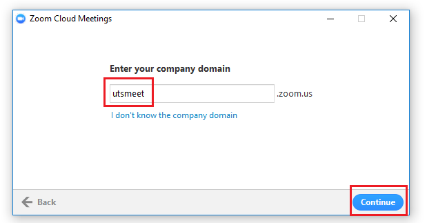 Step 5 of 8:  Enter 'utsmeet' in the company domain field.