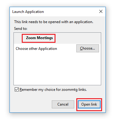 Step 7 of 8:  Launch Zoom client by clicking on 'Open link' button.