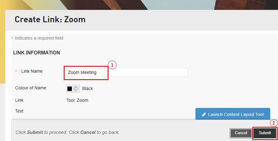 Step 2 of 9: To create a Zoom link, enter the link name and submit.