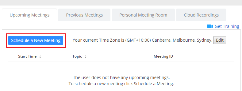 Step 4 of 9:Under 'Upcoming Meetings', click on 'Schedule a New Meeting' to setup the meeting with various options.