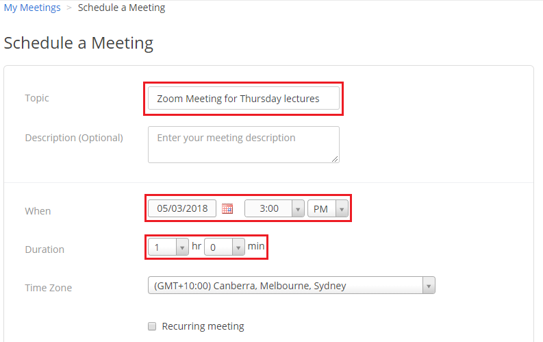 Step 5 of 9:Enter meeting information in the 'Title' and 'Description' field. In the next section, enter the date, start time and the duration.