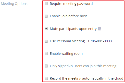 Step 7 of 9:By default, Zoom will mute all particpants before entry. Participants can umute themselves after joining the meeting.