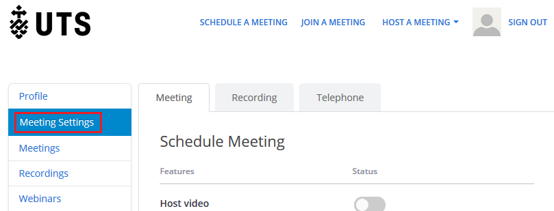 Step 2 of 4:Go to 'Meeting' located within 'Meeting Settings' and scroll down to the bottom of the page.