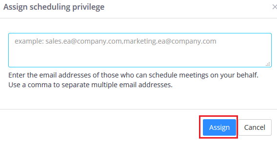 Step 4 of 4:Enter the email address of the user who can see, schedule and start the meeting on behalf of you.