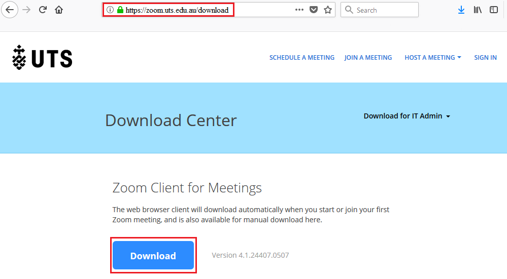 Step 1 of 8: Zoom client application can be downloaded by going to the  UTS Zoom Download Centre (opens an external website).
