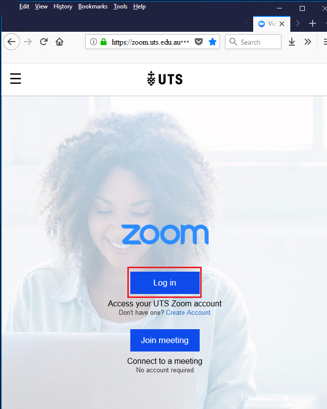 Step 1 of 5: Login to UTS Zoom web portal (https://zoom.uts.edu.au) using your UTS student/staff ID and email password.