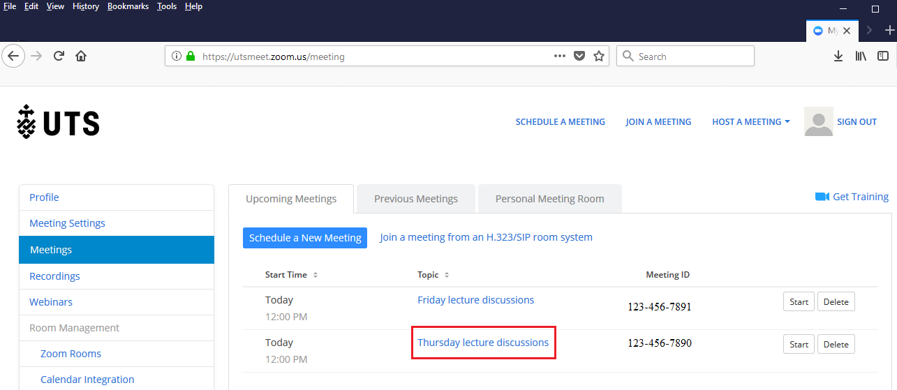 Step 2 of 5:Go to 'Upcoming Meetings' located within 'Meetings' and click on the meeting which require editing.