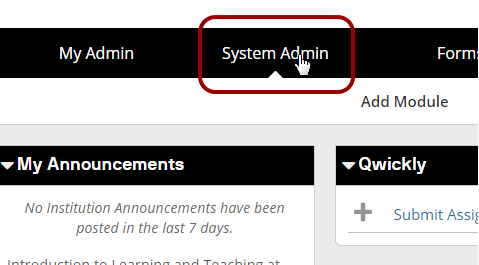 Screenshot of the System Admin button
